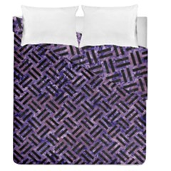 Woven2 Black Marble & Purple Marble (r) Duvet Cover Double Side (queen Size)