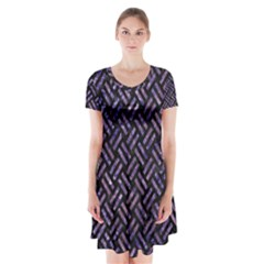 WOV2 BK-PR MARBLE Short Sleeve V-neck Flare Dress