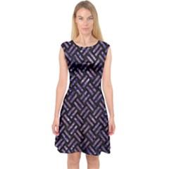 Woven2 Black Marble & Purple Marble Capsleeve Midi Dress