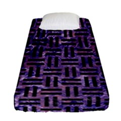 Woven1 Black Marble & Purple Marble (r) Fitted Sheet (single Size)