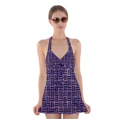 Woven1 Black Marble & Purple Marble (r) Halter Swimsuit Dress