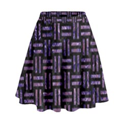Woven1 Black Marble & Purple Marble High Waist Skirt