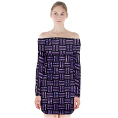 Woven1 Black Marble & Purple Marble Long Sleeve Off Shoulder Dress