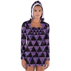 Triangle3 Black Marble & Purple Marble Long Sleeve Hooded T Shirt