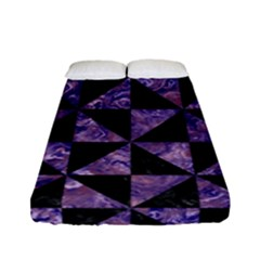 Triangle1 Black Marble & Purple Marble Fitted Sheet (full/ Double Size)