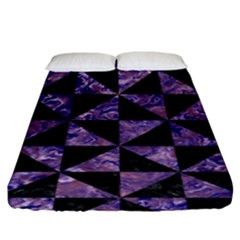 Triangle1 Black Marble & Purple Marble Fitted Sheet (king Size)