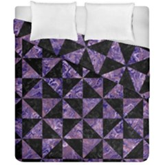 Triangle1 Black Marble & Purple Marble Duvet Cover Double Side (california King Size)