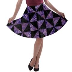 TRI1 BK-PR MARBLE A-line Skater Skirt