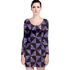 TRI1 BK-PR MARBLE Long Sleeve Velvet Bodycon Dress