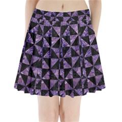 TRI1 BK-PR MARBLE Pleated Mini Skirt