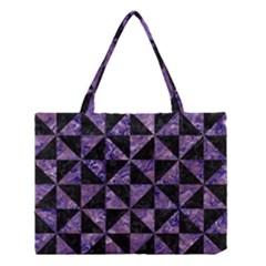 Triangle1 Black Marble & Purple Marble Medium Tote Bag