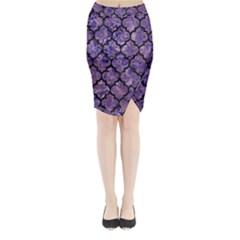Tile1 Black Marble & Purple Marble (r) Midi Wrap Pencil Skirt