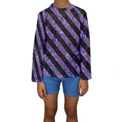 STR3 BK-PR MARBLE (R) Kids  Long Sleeve Swimwear
