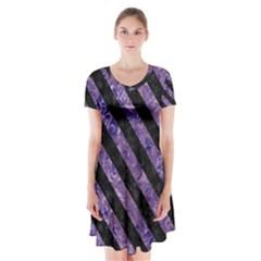 Stripes3 Black Marble & Purple Marble (r) Short Sleeve V Neck Flare Dress
