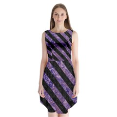 Stripes3 Black Marble & Purple Marble (r) Sleeveless Chiffon Dress