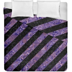 Stripes3 Black Marble & Purple Marble Duvet Cover Double Side (king Size)