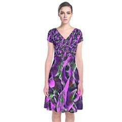 Floral  Fantasy, Pink Short Sleeve Front Wrap Dress
