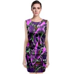 Floral  Fantasy, Pink Sleeveless Velvet Midi Dress