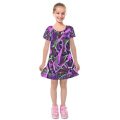 Floral  Fantasy, Pink Kids  Short Sleeve Velvet Dress