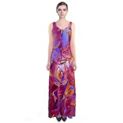 Floral Artstudio 1216 Plastic Flowers Sleeveless Maxi Dress