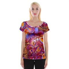Floral Artstudio 1216 Plastic Flowers Women s Cap Sleeve Top