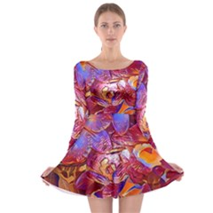 Floral Artstudio 1216 Plastic Flowers Long Sleeve Skater Dress