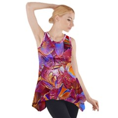 Floral Artstudio 1216 Plastic Flowers Side Drop Tank Tunic
