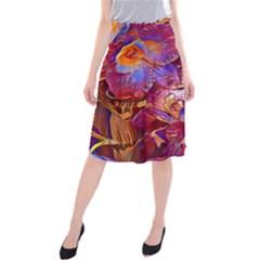 Floral Artstudio 1216 Plastic Flowers Midi Beach Skirt