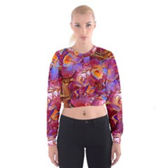 Floral Artstudio 1216 Plastic Flowers Women s Cropped Sweatshirt