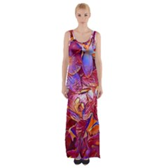 Floral Artstudio 1216 Plastic Flowers Maxi Thigh Split Dress