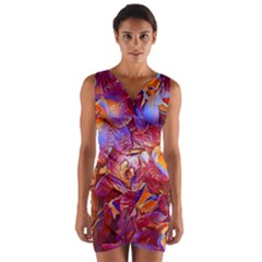 Floral Artstudio 1216 Plastic Flowers Wrap Front Bodycon Dress