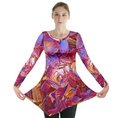 Floral Artstudio 1216 Plastic Flowers Long Sleeve Tunic