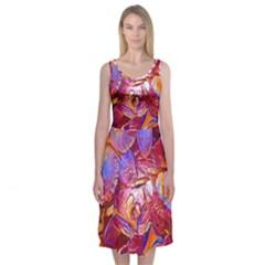 Floral Artstudio 1216 Plastic Flowers Midi Sleeveless Dress