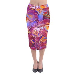 Floral Artstudio 1216 Plastic Flowers Velvet Midi Pencil Skirt