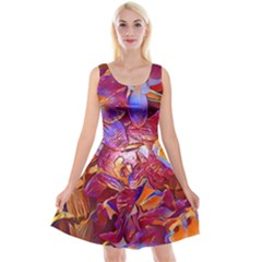 Floral Artstudio 1216 Plastic Flowers Reversible Velvet Sleeveless Dress