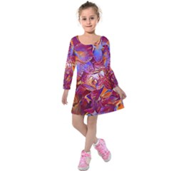 Floral Artstudio 1216 Plastic Flowers Kids  Long Sleeve Velvet Dress