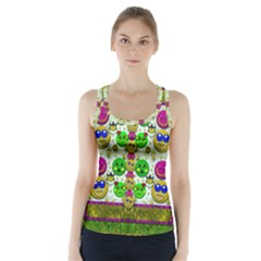 Smile And The Whole World Smiles With You Racer Back Sports Top