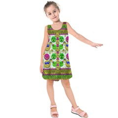 Smile And The Whole World Smiles With You Kids  Sleeveless Dress