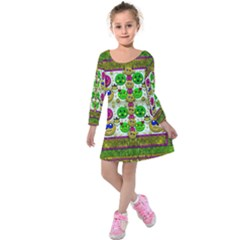 Smile And The Whole World Smiles With You Kids  Long Sleeve Velvet Dress