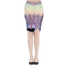 Magical Hill Midi Wrap Pencil Skirt
