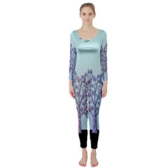 Blue Magical Hill Long Sleeve Catsuit