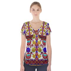 Smile And The Whole World Smiles  On Short Sleeve Front Detail Top