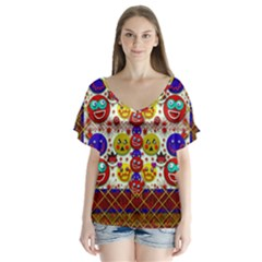 Smile And The Whole World Smiles  On Flutter Sleeve Top