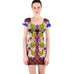 Smile And The Whole World Smiles  On Short Sleeve Bodycon Dress
