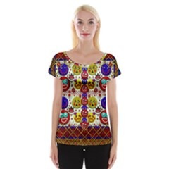 Smile And The Whole World Smiles  On Women s Cap Sleeve Top