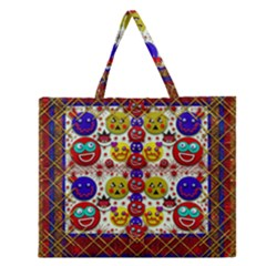 Smile And The Whole World Smiles  On Zipper Large Tote Bag
