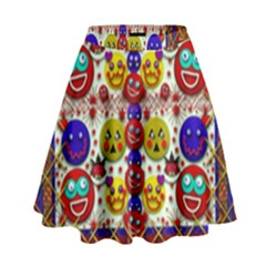 Smile And The Whole World Smiles  On High Waist Skirt