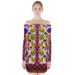 Smile And The Whole World Smiles  On Long Sleeve Off Shoulder Dress