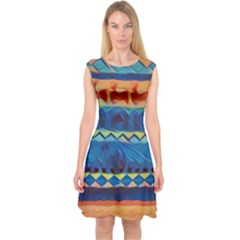 Holmes Christmas Jumper in Crayon Abstract Capsleeve Midi Dress