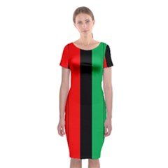 Kwanzaa Colors African American Red Black Green  Classic Short Sleeve Midi Dress